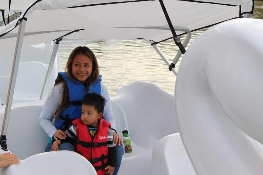 Family swan boat rental on lake balboa, los angeles