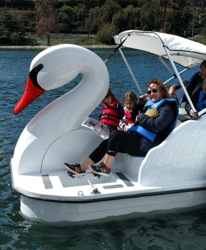 Family in a Swan Boat